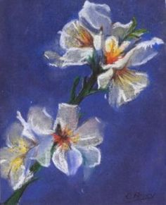 """Tableau (Pastel sec) """"Fleur fond bleu"""" par l'artiste Elodie20ans ..."""