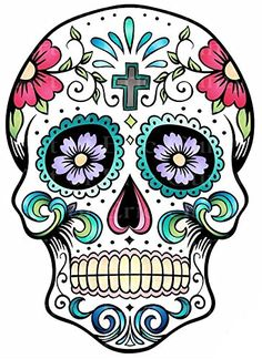 1/2 Sheet - Sugar Skull Halloween Birthday - Edible Cake/Cupcake Party Topper Tribal Tattoos, Skull Tattoos, Art Tattoos, Celtic Tattoos, Sleeve Tattoos, Caveira Mexicana Tattoo, Sugar Skull Artwork, Pochette Cd, Sugar Scull