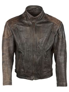 Vintage Wilsons Cafe Racer Jacket - M, Tight Fit, size Size M . Colour Washed Brown/Black and made from 100% Cowhide Leather with with Black Lining and and YKK Front Zip Fastening fastening.