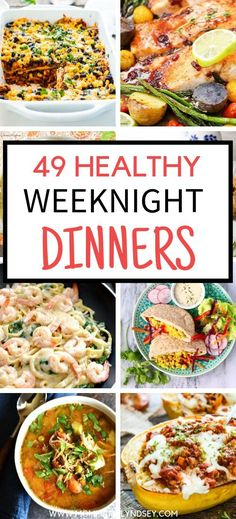49 easy and healthy weeknight dinners that are 30 minutes.  Great to be made ahead and cooked in the crockpot, slow cooker or instant pot.  Family recipes for kids that are also good for clean eating diet.  Many recipes are good for eating healthy on a budget and can be made for two.  Recipes include chicken, beef, vegetarian, low carb and casseroles plus more. Healthy Weeknight Dinners, Healthy Family Dinners, Family Recipes, Kid Recipes, Meal Recipes, Healthy Meals, Budget Clean Eating, Clean Eating Dinner, Healthy Crockpot Recipes
