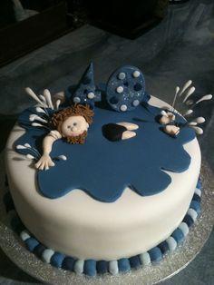 Swimming cake. 40th birthday cake. Splashing in the pool.