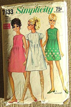 Mod Junior and Misses' Dress, Mini Simplicity 7633 Size 12 I would love to whip up some cute babydoll dresses to wear. This vintage pattern looks perfect!I would love to whip up some cute babydoll dresses to wear. This vintage pattern looks perfect! Vintage Dress Patterns, Clothing Patterns, Vintage Dresses, Vintage Outfits, Vintage Clothing, 1960 Clothing, 60s Dresses, 1970s Dress, Doll Dresses