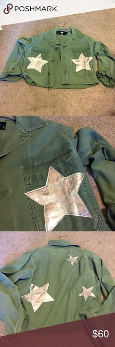 Distressed army jacket Like new, I haven't worn this. But the material is super soft and comfy. Nasty Gal Jackets & Coats