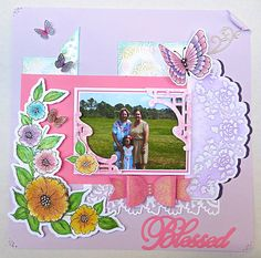 Good morning all, today I am going to share the layout that I promised yesterday!! I will be using the same Corner Garden stamp set from...
