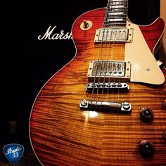 Les Paul and Marshall. The perfect pair. This one from @ajlite1 #studio33guitar #lespaul #marshall Learn to play guitar online at www.studio33guitarlessons.com