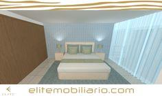 Quarto com alternativas desenhado em 2D modelado em 3D e renderizado por Eliteline Mobiliario Moderno e Decoração de Interiores