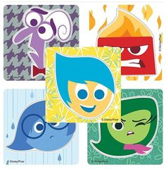 Disney Pixar Inside Out Shaped Stickers - Birthday Party Supplies & Favors - 50 per Pack Inside Out Characters, Movie Inside Out, Disney Inside Out, Inside Out Party Ideas, Goodie Bags For Kids, Mindy Kaling, Pixar Movies, Disney Love, Disney Stuff