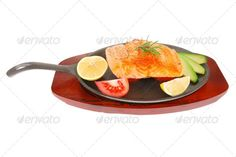 roast salmon piece with tomatoes ...  avocado, background, baked, barbecue, black, chef, cuisine, eating, fillet, fish, food, fresh, gold, gourmet, green, grilled, growth, healthy, herb, hot, iron, isolated, leaves, lemon, main, meat, metal, natural, nobody, pan, pepper, photo, plate, portion, raw, red, restaurant, roast, roasted, rosemary, round, salmon, savory, steak, texture, tomatoes, twig, vegetables, white, wood