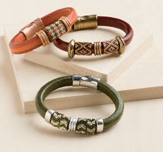 Boho Bangle, by Pamela Kearns. Leather Jewelry Making issue. Cord ends glued into cord end finding