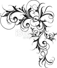 Motif floral, Arabesque, Style gothique, Armoiries, Enroulement Illustration vectorielle libre de droits