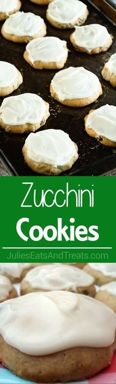 Looking for healthy cookies you can make for your kids as an afternoon snack? Make these Zucchini Cookies with Cream Cheese Frosting Recipe. It's Soft Delicious Cookies Stuffed with Zucchini and Raisins then Frosted with Cream Cheese Frosting! Zucchini Cupcakes, Zucchini Muffins, Zucchini Bread, Zucchini Ravioli, Zucchini Spaghetti, Cheese Muffins, Cookie Desserts, Just Desserts, Cookie Recipes