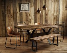 Vintage-Rustic-Reclaimed-Plank-Top-Dining-Table-Blacksmith-Forged-Solid-Iron-Leg