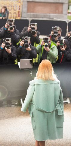 British musician Paloma Faith in front of photographers at the Burberry Menswear A/W14 show