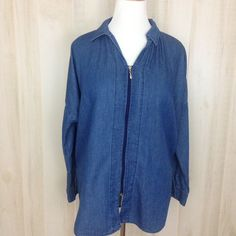 CJ by Cookie Johnson Womens LS Denim Top Zip Front French Blue Wide Tunic Size M #CookieJohnson #Tunic