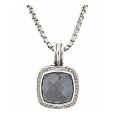 Pre-Owned David Yurman Sterling Silver Hematine & Diamonds Pendant on... ($1,495) ❤ liked on Polyvore featuring jewelry, necklaces, black, sterling silver diamond pendant, chain pendants, pendant necklace, diamond necklace and diamond chain necklace