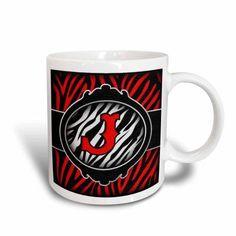 3dRose Wicked Red Zebra Initial Letter J, Ceramic Mug, 11-ounce