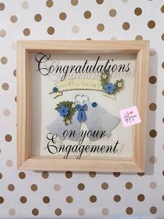 Engagement Frame / You're Engaged! / Future Mrs / Engagement Keepsake / Wedding Bells  / Personalised Couple / Happy Engagement / Congratulations Gift   A hand painted set of wedding bells for the newly engaged couple to mark their special day!  The banner can be personalised with the couple's names using vinyl and the date they got engaged!  Please use the add a note section at checkout to advise me of the details…