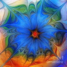 Fractal Art Art - Blue Flower Dressed For Summer  by Karin Kuhlmann