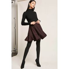 Forever21 Plaid Flounce Skirt (€23) ❤ liked on Polyvore featuring skirts, wine, full length skirt, tartan plaid skirt, flouncy skirt, frill skirt and frilled skirt