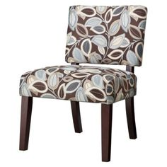 Vale Open Back Slipper Accent Chair - Leaves : brown, blue and cream colors. Don't break the bank