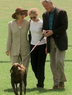 'Buddy', The Clinton's  Then president Bill Clinton walks with Hillary and Chelsea Clinton and their dog, a Labrador named Buddy, after returning from a vacation in Martha's Vineyard, August 30, 1998.