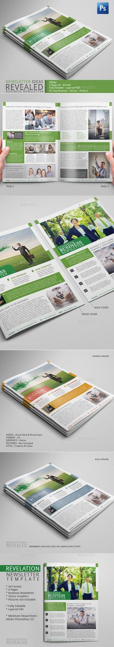 Business Newsletter - Bi Fold - 4 pages for your company marketing - Eco Green design Newsletter Format, Company Newsletter, Newsletter Template Free, Newsletter Design, Newsletter Ideas, Indesign Templates, Print Templates, Best Seo Company, Layout Design