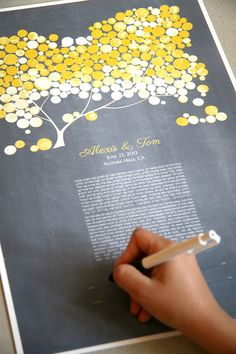 Personalized Modern Ketubah Yellow Blush Tree of by OnceUponaPaper, $185.00