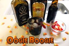Oogie Boogie (The Nightmare Before Christmas cocktail) Ingredients: oz Jägermeister Spice oz Kahlua Around 6 oz Root Beer Gummy Worms Directions: Mix Jägermeister Spice and Kahlúa in a lowball glass over ice. Fill with about 6 oz of your. Party Drinks, Fun Drinks, Beverages, Jager Drinks, Alcoholic Drinks, Nightmare Before Christmas, Worms, Gimlet Recipe, Cocktail Ingredients