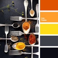 black, bright orange, bright red, bright yellow, color of orange, color of spices, color of wet asphalt, color palette, contrast combination, dark gray, gray, red-orange, saffron, selection of color, shades of spices.