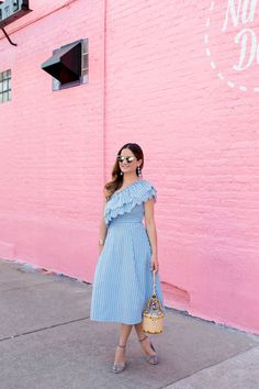 Blue Stripe One Shoulder Ruffle Dress