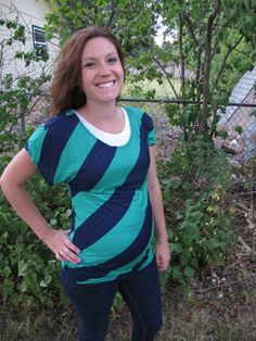 Green and Navy Diagonal Stripe Top by Annabelle Maternity - Maternity Clothing - Flybelly Maternity Clothing