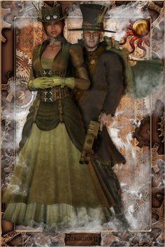 Steampunk Couple Original Artwork Print [ASB-PRINT-0003] - $30.00 : The Airship Bismarck, Fine Quality Steampunk Masks, Goggles, and Accessories