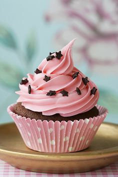 pink on chocolate cupcake