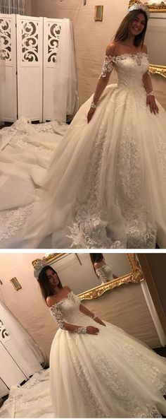 Off The Shoulder Long Sleeves Appliques Ball Gown Wedding Dress WD163 #wedding #lace #fashion #dress #pgmdress #cheap