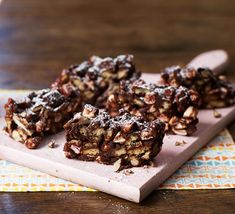 Great for a bake sale, a gift, or simply an afternoon treat to enjoy with a cuppa, this rocky road is quick to make and uses mainly storecupboard ingredients Afternoon Tea Recipes, Healthy Afternoon Snacks, Dinner Healthy, Healthy Meals, Bbc Good Food Recipes, Baking Recipes, Dessert Recipes, Recipes Dinner, Bake Sale Recipes