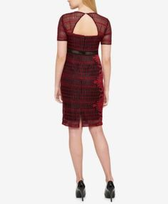 Guess Geo-Lace Open-Back Dress - Red 10