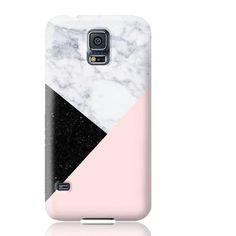 Pink Marble Black Glitter Phone Case - Samsung Galaxy S5