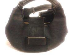 Calvin Klein Monogram Satchel Purse Black Handbag