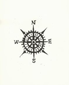 Compass / Cardinal directions BLACK LINOCUT  via Etsy.