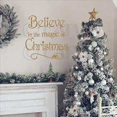 Believe in the magic of christmas vinyl lettering wall decal 155W x 16H Metallic Gold -- For more information, visit image link. (Note:Amazon affiliate link)