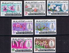 Pahang 1965 Flowers Orchids Set Fine Mint SG 87 93 Scott 83 9 Other Malayan Stamps here