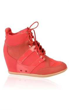 Deb Shops #coral #sneaker #wedges - not a fan of pink, but this is more coral. Love it!