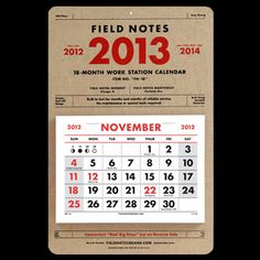 2013 18-Month Calendar from FIELD NOTES. A very nice Calendar with a classic look. Perfect for the shop or the office!