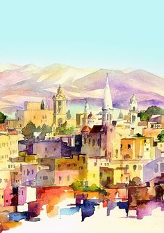 watercolor of Bethlehem - not sure of the artist - from https://www.facebook.com/photo.php?fbid=268767556561647=a.215216578583412.39274.179028238868913=1_count=1=nf