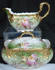 Antique Limoges Creamer and Sugar Bowl Heavy Gold Ornate Mold Pink Roses