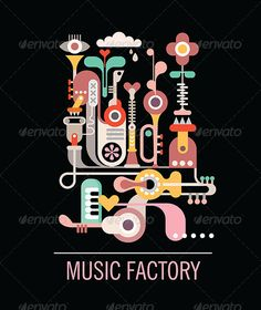 Illustration of Abstract art composition. Graphic design with text 'Music Factory'. Isolated vector illustration on black background. vector art, clipart and stock vectors. Kids Graphic Design, Graphic Design Inspiration, Design Ideas, Illustration Vector, Graphic Design Illustration, Carnaval Kids, Vector Design, Vector Art, Corel Draw Design