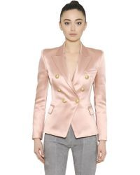 Balmain | Double-breasted Satin Jacket | Lyst