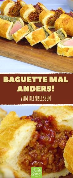 Baguette with a difference! To bite into .- Baguette with a difference! To bite into # filled - Snacks Für Party, Appetizers For Party, Appetizer Recipes, Baguette Relleno, Clean Eating Snacks, Healthy Snacks, Party Food Platters, Gnocchi, Finger Foods
