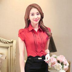 women-short-sleeve-clothes-OL-shirt-Formal-slim-blouses-office-ladies-tops-1606