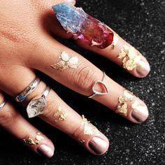 ☽☾∘S∘U∘P∘E∘R∘N∘O∘V∘A∘∘☽☾ Our A/W collection Supernova now in store at www.shopdixi.com // moon // rings // boho // bohemian // crystals // crystalring //jewellery // jewelry // magical // gypsy // gypset // hippie // moonstone // sterlingsilver // shop dixi // herkimer diamond // fiery labradorite // lepidolite // aqua aura // rose aura // midi rings // Rings // Stones // Quartz // Stacking // Boho // Fashion // Inspiration